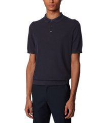 boss men's t-omarco dark blue polo sweater
