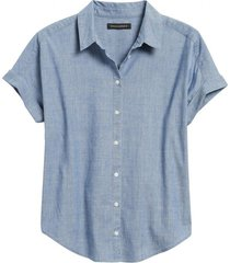 blusa button cuff chambray celeste banana republic