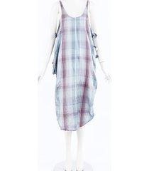 stella mccartney plaid silk midi dress blue/multicolor/geometric sz: xs