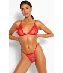 spot mesh frill bralette and thong set, red