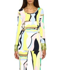 emilio pucci top emilio pucci sweater with vallauris print and fringes