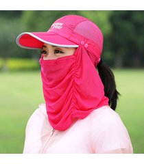 sombrero para mujer, plegable las velo cubierta la cara-rojo