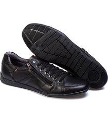 sapatenis couro tchwm shoes masculino elastico ziper dia dia preto - kanui