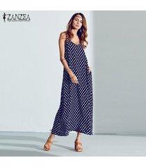 zanzea 2018 mujeres del verano del vestido largo maxi floja ocasional cuello en v sin mangas de los vestidos de lunares playa vestidos tamaño más azul -azul