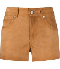 golden goose suede mini shorts - brown