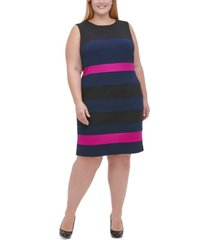 tommy hilfiger plus size scuba crepe colorblock sheath dress