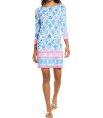 women's lilly pulitzer sophie upf 50+ shift dress, size medium - blue