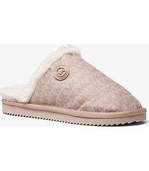 mk slipper janis con logo jacquard e fodera in pelliccia sintetica - rosa tenue (rosa) - michael kors