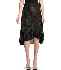ava & aiden women's dotted lurex high-low ruffle wrap skirt - black - size l