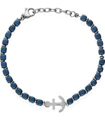 bracciale in acciaio con ciondolo ancora blu per uomo