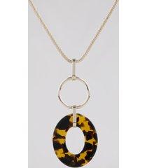 colar feminino longo com pingente acrílico tartaruga e argola dourado