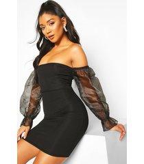bardot mini dress with organza sleeves, black