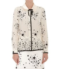miu miu stars degrade print silk shirt