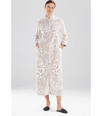 natori plush leopard zip lounger sleep/lounge/bath wrap/robe, women's, silver, size l natori