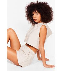 womens perfect match cropped hoodie and shorts set - stone