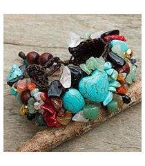 multi-gem beaded bracelet, 'festive heart' (thailand)