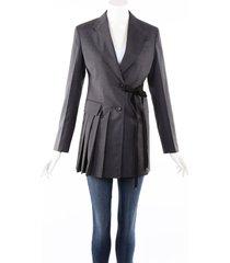prada 2020 gray virgin wool pleated side tie blazer jacket gray sz: xs
