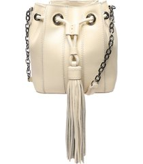 grace leather drawstring bag - o/s eggshell leather