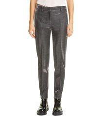 women's akris punto fabia metallic pinstripe jersey pants, size 2 - metallic