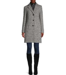 cinzia rocca icons women's convertible houndstooth coat - white black - size 6