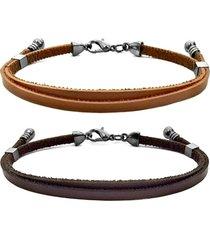 2 bracelete gafeno acessórios marrom