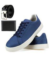 kit sapatênis casual sapatofranca com cadarço e cinto e carteira azul