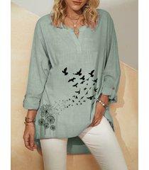 camicetta casual da donna con scollo a v manica lunga stampa fiori uccelli