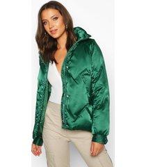 tall satin padded jacket, emerald