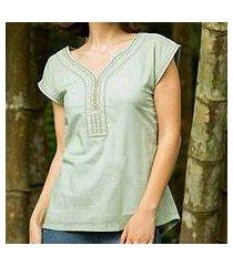 cotton blouse, 'feminine aqua' (thailand)