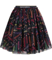 dolce & gabbana black girl skirt with colorful pencils