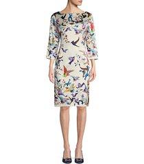 bird print stretch-silk sheath dress