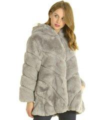 abrigo piel gris bou's