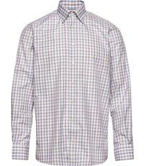blue & brown gingham checked twill shirt skjorta casual blå eton