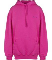 woman fuchsia oversize hoodie with logo