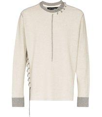 craig green lace-up detail sweatshirt - grey