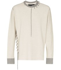 craig green lace-up detail sweatshirt - grey