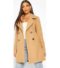 double breasted collared wool look coat, camel