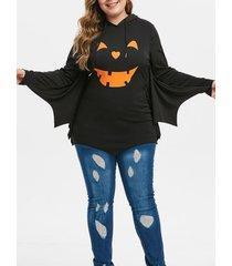 plus size batwing sleeve printed tunic hoodie