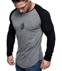 pleated shoulder raglan sleeve long sleeve tee