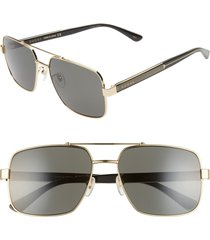 men's gucci 60mm navigator sunglasses - shiny endura gold