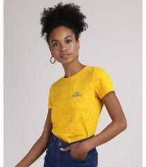 blusa feminina bart simpson estampada manga curta decote redondo amarela