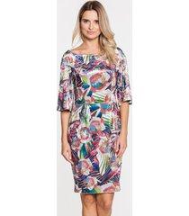 welurowa sukienka w kolorowy wzór