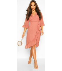 dobby chiffon wide sleeve midi wrap dress, rose