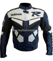 men mens yamaha r blue cowhide leather motorcycle motorbike biker jacket