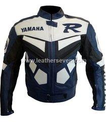 men mens yamaha r blue cowhide leather motorcycle motorbike biker jacket