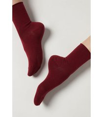 calzedonia non-elastic cotton ankle socks woman red size 39-41