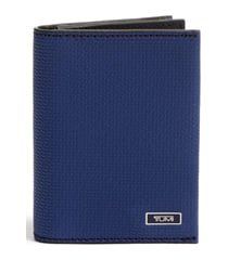 tumi monaco leather card case - blue