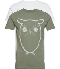 alder 2 pack big owl tee - flat pac t-shirts short-sleeved multi/mönstrad knowledge cotton apparel