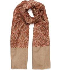 geometric leaf embroidered pashmina scarf