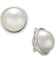 charter club imitation pearl clip-on earrings, created for macy's